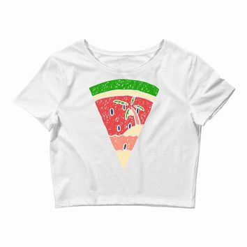 watermelon and beach Crop Top