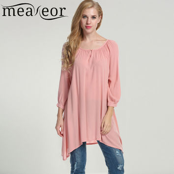 Meaneor Women's Casual Long T-Shirt Oversized 3/4 Sleeve Solid White Pink  Loose Fit Asymmetrical Pullover Shirt Tops