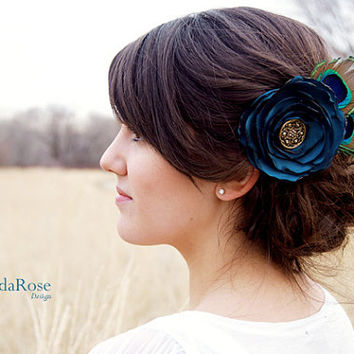 Blue Peacock Feather Fabric Flower Hair Clip Teal Vintage Style Wedding Bridal Sash Clip Flower Corsage Brooch -  Sweetpea MADE TO ORDER