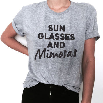 sun glasses and mimosas Tshirt tees funny gift idea ladies lady women tumblr blog instagram summer top champagne
