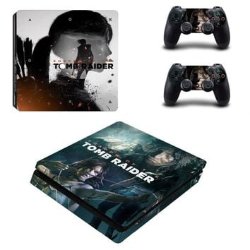Shadow of The Tomb Raider PS4 Slim Skin Sticker Decal for PlayStation 4 Console and 2 Controller PS4 Slim Skins Sticker Vinyl