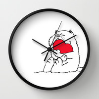 Persian Cat Heart Wall Clock by Huebucket