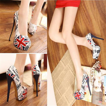 Low Cut Uppers Euro Style Platform American Flag Pattern Ultra Kitten Pointed Toe High Heels N Prom Shoes And Bags To Match