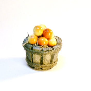 Miniature Food Apples in a Rustic Wood Pail Fairy Garden Dollhouse Fruit