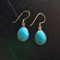 Turquoise Teardrop Earrings, Framed Turquoise Earrings, Blue Teardrop Earrings, Dangle Earrings, Tribal Earrings, Turquoise Earrings