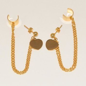 4-2143-e1 Ladies Gold Plated Heart Earring with Cuff Extention