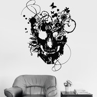 Vinyl Wall Decal Flowers Skull Art Decor Gothic Style Stickers Unique Gift (865ig)
