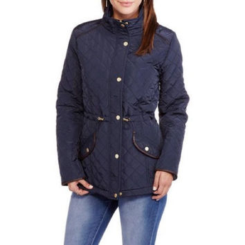 Maxwell Studio Quilted Barn Jacket With Faux Leather Trim, Navy Blue, XL