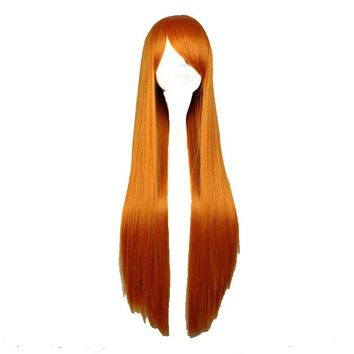 80cm Long Straight Synthetic  Orange  Color Cosplay Costume Wig 100% High Temperature Fiber WIG-001F