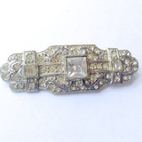 Vintage Rhinestone Brooch with Pierced Metal Bridal Fashion Wedding Jewelry Accessory