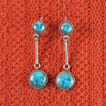 Native American Navajo Drop Earrings Turquoise
