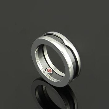 Fashion Charitable Style Black Ceramic Bulgaria Rings Titanium Stainless steel with Red mark Women /Men Jewelry