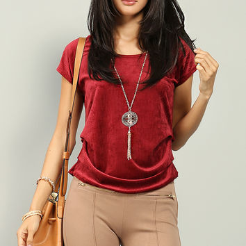 Ribbed Velvet Ruched Top W/Necklace