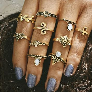 SHUANGR fashion 10pcs Set 2 Color Boho Vintage Punk Stone Anillos Women & Men Midi Finger Rings For Bohemian Ring Set Jewelry