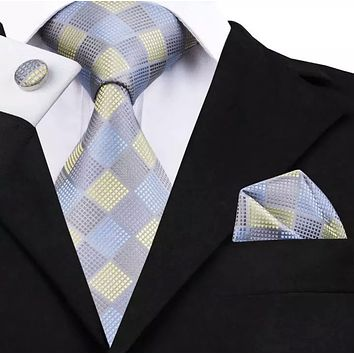 Men's Silk Coordinated Tie Set - Yellow Blue Check