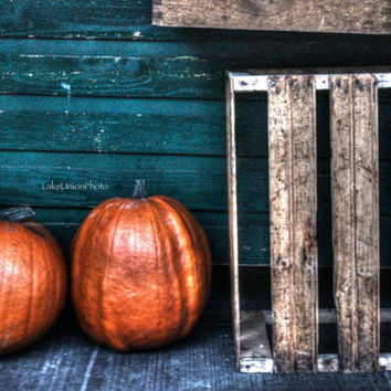 Digital Image / Pumpkins and Rustic Wooden Crate / Vegetable Farmers Market Photography (Instant Download for DIY Wall Art or Prints)