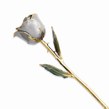 24k Gold Plated Trimmed Silver Moon Stone Rose