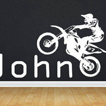 Motocross Dirt Bike Personalized Decor Wall Decal Art Vinyl Sticker tr293