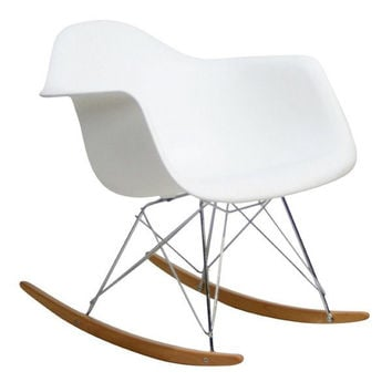 Modern White Rocking Chair