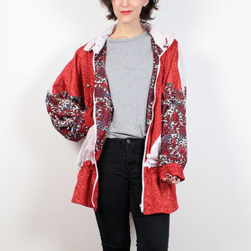 Vintage 80s Windbreaker Jacket Red White Paisley Floral Print Anorak Jacket 1980s Bomber Jacket Track Jacket Warm Up Sporty L XL Extra Large