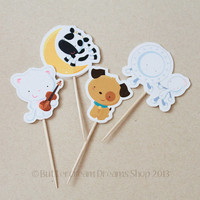 Hey Diddle Diddle - Baby Shower Cupcake Toppers / Cupcake Picks - (12 / pack)