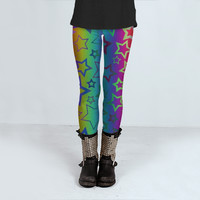Psychedelic Rainbow Star Pattern by Hippy Gift Shop (Leggings)