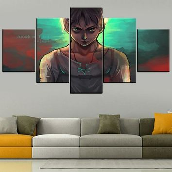 Cool Attack on Titan Wall Art Canvas Pictures HD Print Animation Poster Decor Framework 5 Pcs  Eren Yeager Painting Home Decor Bedroom AT_90_11