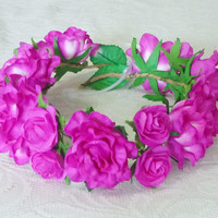 Pink flower crown Magenta pink Rose headpiece /Big Flower crown/ Rose headpiece/ Big Rose hair wreaths