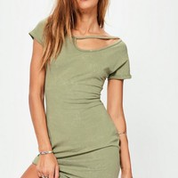 Missguided - Khaki Wash Racer Neck Bodycon Dress