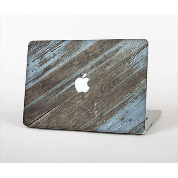 """The Faded Blue Paint on Wood Skin Set for the Apple MacBook Pro 13"""""""