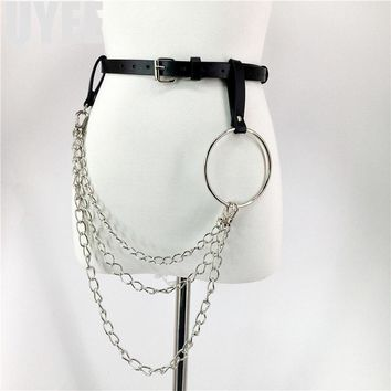 UYEE Fashion Design Sexy Leather Belt For Women Punk Harajuku Big O Ring Belt Exaggerated Big Metal Ring Hoop Harness LZ-001-3