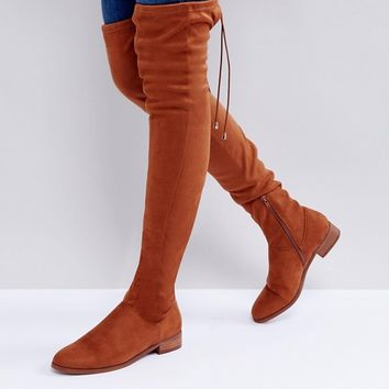 ASOS KEEP UP Flat Over The Knee Boots at asos.com