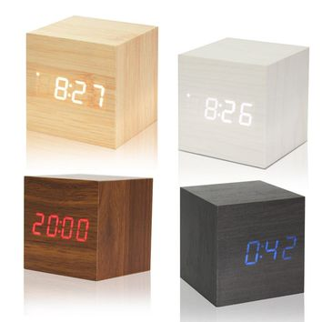 USB/AAA Powered Cube LED Digital Alarm Clock Square Modern Wood Clock Thermo