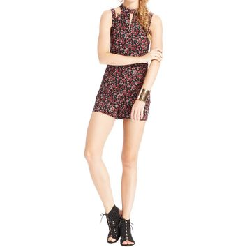 One Clothing Womens Juniors Printed Cut-Out Romper