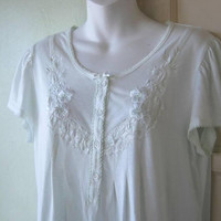 Pale Minty Green Knit Nightie; Women's Medium Knee-Length Cotton-Blend Short Sleeve Nightgown; U.S. Shipping Included
