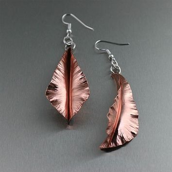 Copper Fold-Formed Leaf Earrings
