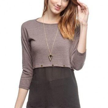 Charcoal Brown with Black Sheer Accent by YaLa