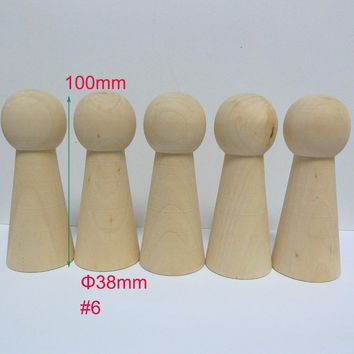 10pcs #6 Unfinished DIY Solid Wooden WOMEN Peg Doll Bodies Supplies