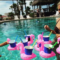 2016 Hot Sale Cute Inflatable Flamingo Can Holder Floating Swimming Pool Beach Party Kids