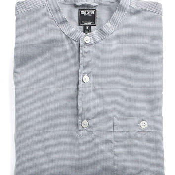 Band Collar Popover Shirt in Grey Gingham