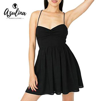 AZULINA Chiffon Summer 2017 Sexy Spaghetti Strap Mini Dress Women Party Backless Black Short Beach Dress Vestidos Robe Sundress