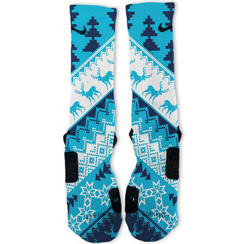 Christmas Sweater Blue Customized Nike Elite Socks