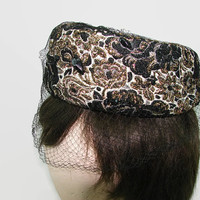 Mr. Lewis Pillbox Hat Black and Gold Brocade with Netting and Black Stones