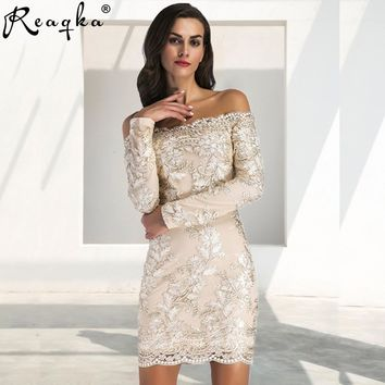 Chic Embroidery Celebrity Sexy Women Sequins Dress Fashion Autumn New Woman Slim Vintage Bodycon Luxury Club Party Dresses 2018