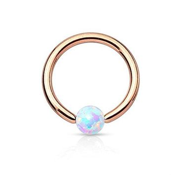 BodyJ4You Captive Ring Bead Rose Goldtone Opal Ball Daith Cartilage 16G Piercing Body Jewelry