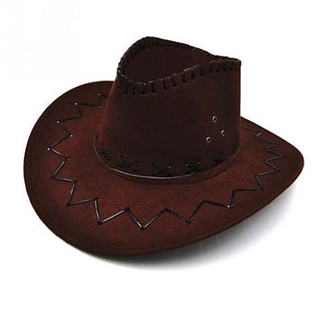 1 Pcs Comfortable Artificial Suede Cowboy Hat Party Costumes Sun Hat With 4 Colors For Choice