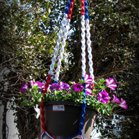 Independence plant Hanger ,Memorial Day flower hanger, July 4 Early With Independence, Unique Handcrafted Gift, Handmade Flower Hanger
