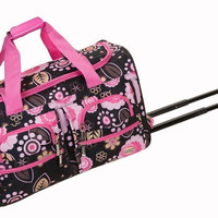 Rockland Rolling Duffle Bag Luggage Travel Gear CarryOn 22 inch TSA Pucci Floral
