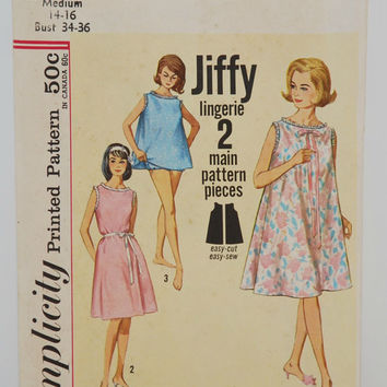 Simplicity Printed Pattern 5002 (c.1960's) Jiffy Lingerie 2 Main Pattern Pieces, Miss Size Medium, 14-16, Vintage Sewing Nightgown Pattern