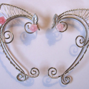 Pair of Silver Woven Wire Elf Ear Cuffs with Pink Czech Glass Flowers and Silvered Green Leaves Renaissance, Elven